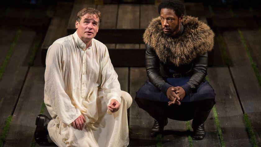 "Robert Sean Leonard (left) as King Richard II and Tory Kittles as Henry Bolingbroke in the Old Globe Theatre's ""King Richard II."""