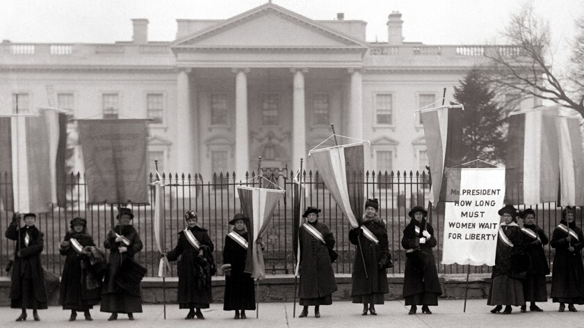 "Suffragists picket in front of the White House in February 1917 in ""American Experience: The Vote"" on PBS."