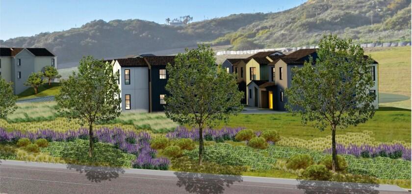 A rendering of a proposed senior living facility near San Elijo Lagoon.