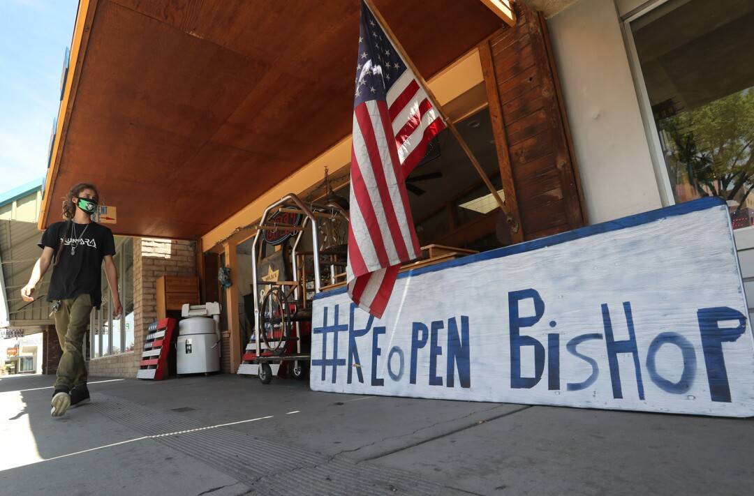 Mark McClean outside his Bishop, Calif., consignment shop.