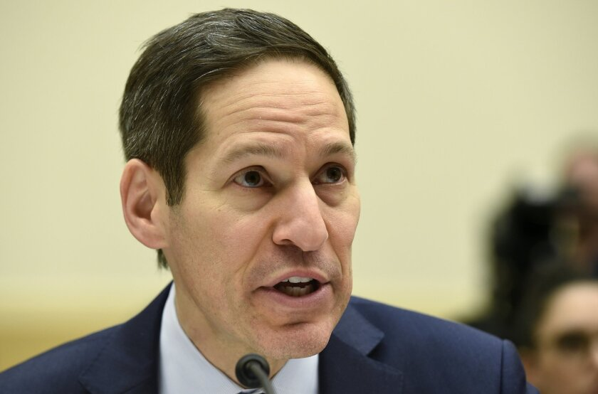CDC Director Tom Frieden testifies on Capitol Hill in Washington, Wednesday, Feb. 10, 2016, before the House Foreign Affairs, Africa, Global Health, Global Human Rights, and International Organizations subcommittee and Western Hemisphere subcommittee hearing on: 'The Global Zika Epidemic.' (AP Phot