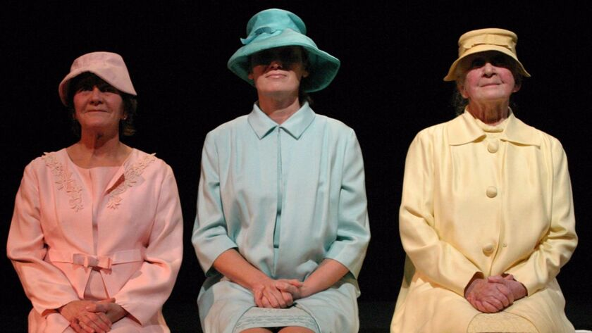 """Beth Hogan, left, Diana Cignoni and Sheelagh Cullen in one of five short plays that make up """"Beckett 5"""" at the Odyssey Theater."""