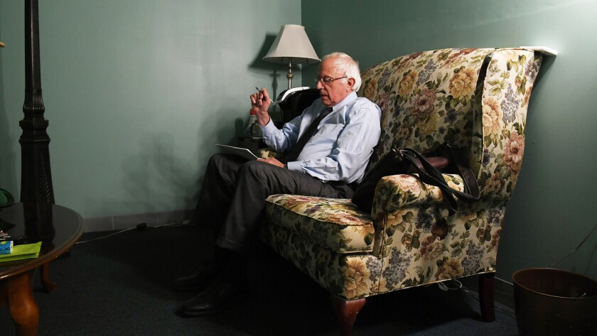Bernie Sanders in my grandma's chair.