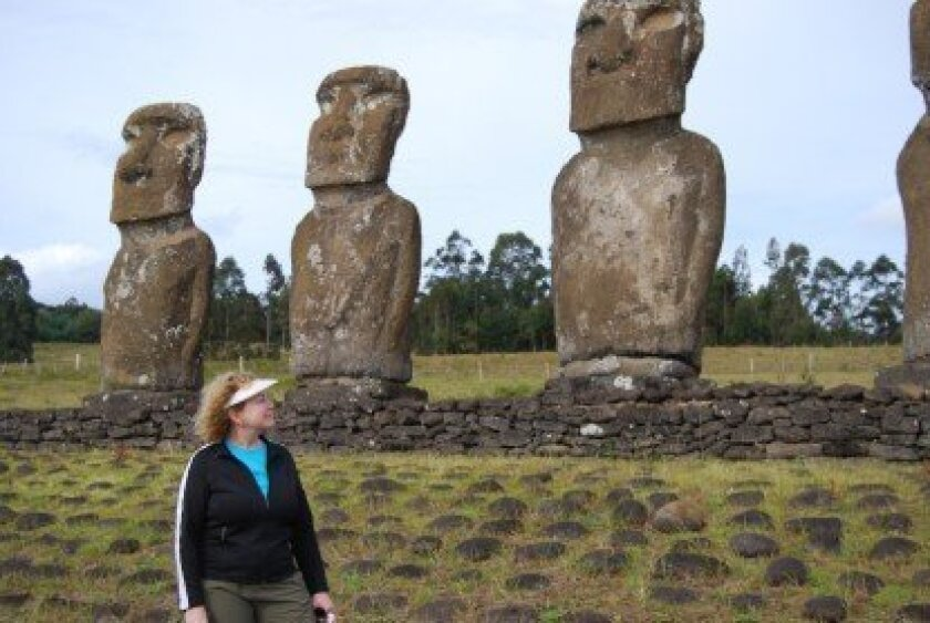 Kay Sanger has traveled around the world and worked on several archeological projects on Easter Island (pictured) and in Costa Rica, Mexico and Central California.  Courtesy