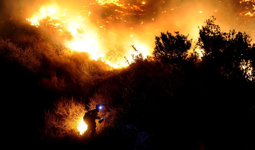 A firefighter starts a backfire along San Gabriel Canyon Road in Azusa as the Colby fire burns through brush in January.
