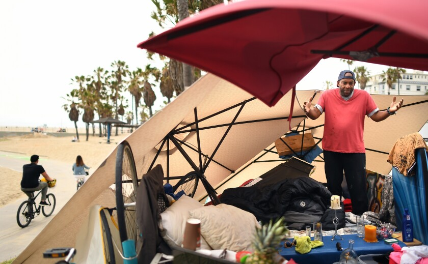 homeless set-up along the strand in Venice Beach