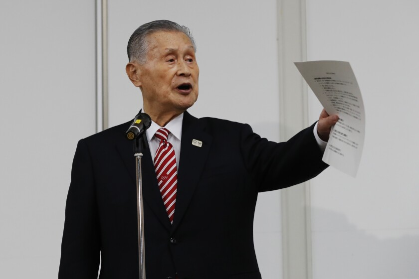 Yoshiro Mori, president of the Tokyo Olympics organizing committee, speaks at a news conference in Tokyo on Feb. 4.