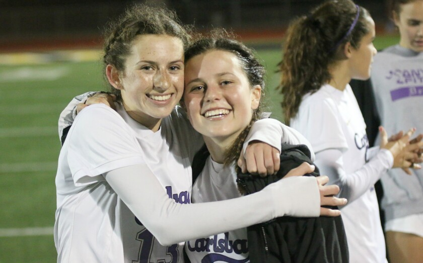 Offensive standouts Lexi Wright and Taylor Wells have had plenty of reasons to smile at Carlsbad