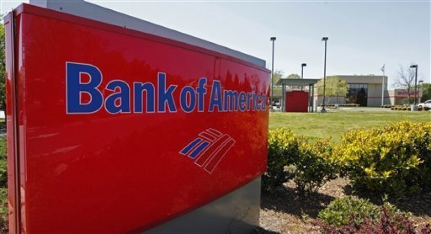 In this April 17, 2009 file photo, a Bank of America branch is shown in Charlotte, N.C. Bank of America is delaying foreclosures in 23 states as it examines whether it rushed the foreclosure process for thousands of homeowners without reading the documents, Friday, Oct. 1, 2010. (AP Photo/Chuck Burton, File)
