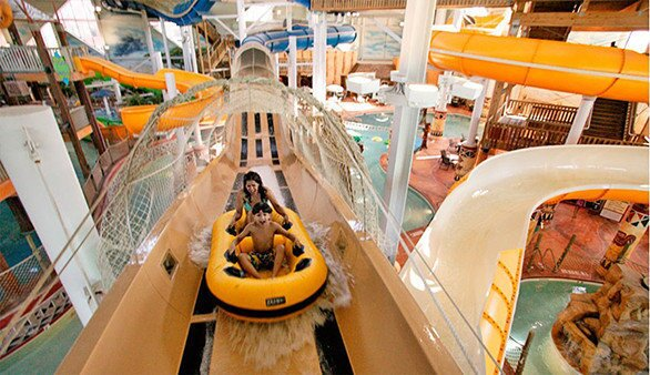 """10) Kalahari Resort, featuring the Master Blaster water coaster, is in Wisconsin Dells, a small Wisconsin city known as the """"water park capital of the world."""""""