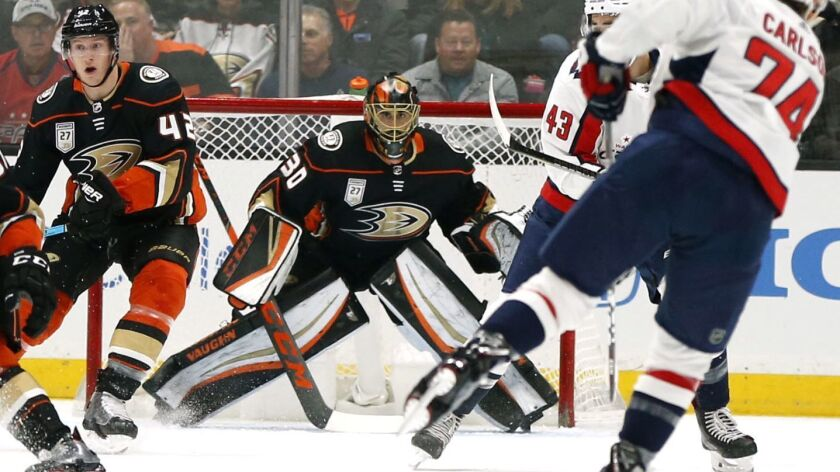 Ducks goalie Ryan Miller looks down the ice during a game against the Washington Capitals on Feb. 17 at Honda Center.