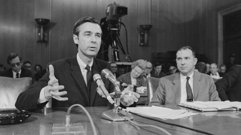 Fred Rogers testifying before the United States Senate in the film, WON'T YOU BE MY NEIGHBOR?, a Foc