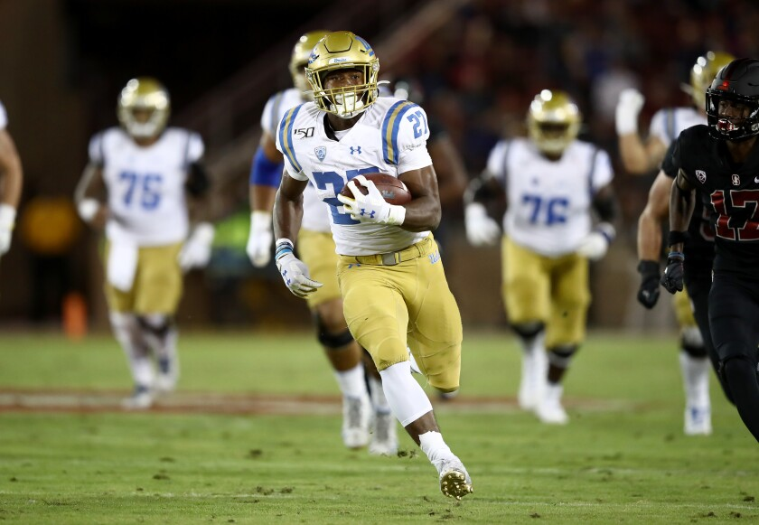 UCLA running back Joshua Kelley carries the ball during a win over Stanford on Oct. 17.
