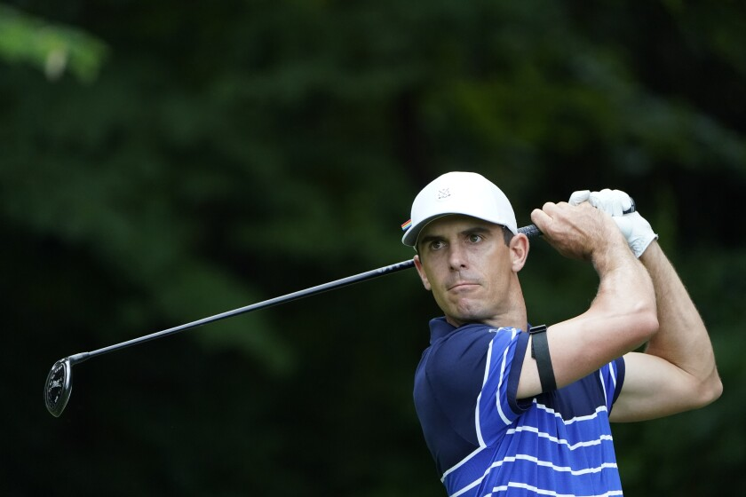 Billy Horschel hits off the second tee during the final round of the Wyndham Championship golf tournament at Sedgefield Country Club on Sunday, Aug. 16, 2020, in Greensboro, N.C. (AP Photo/Chris Carlson)