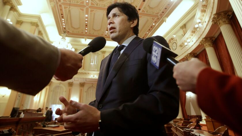 California State Senate President Pro Tem Kevin de León talks with reporters on Jan. 4 in Sacramento.