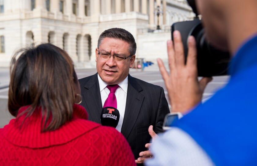 Rep.-elect Salud Carbajal (D-Santa Barbara) speaks with Telemundo outside the U.S. Capitol during new member orientation.