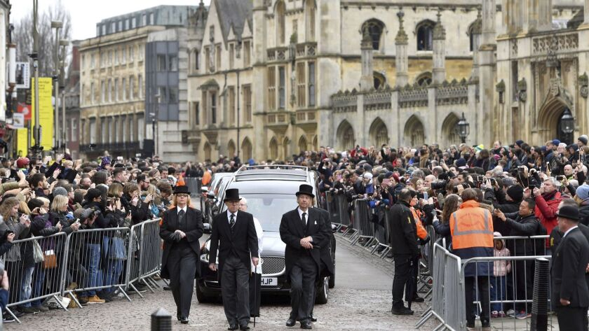 The hearse containing Professor Stephen Hawking arrives at University Church of St Mary the Great as