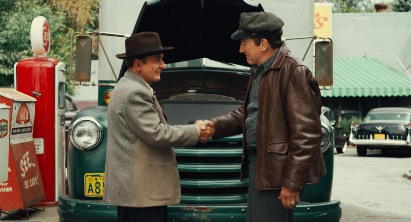 """Pesci and De Niro, de-aged, in an early scene in """"The Irishman"""""""