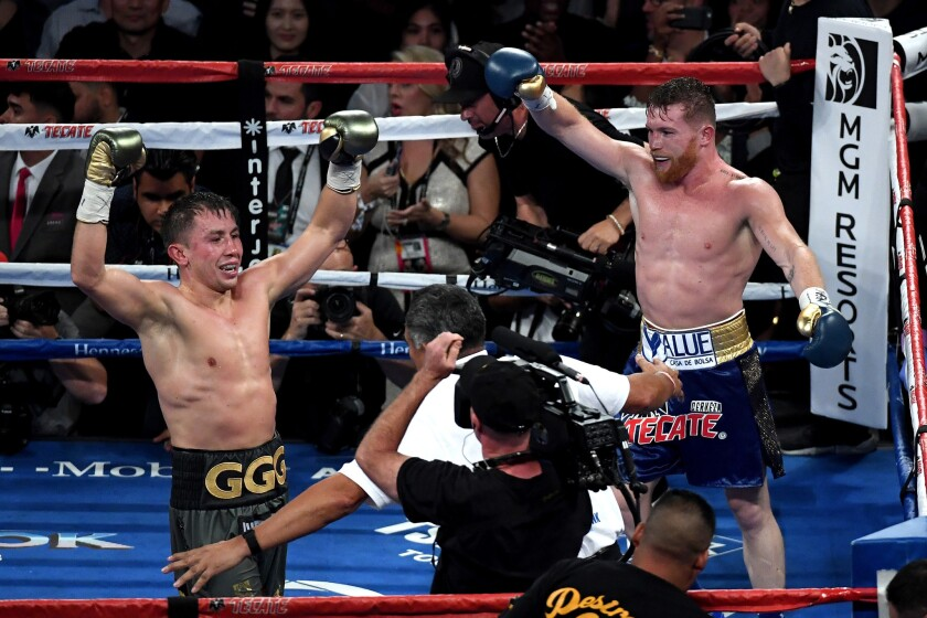 Gennady Golovkin and Canelo Alvarez react after the final round of their middleweight championship bout.