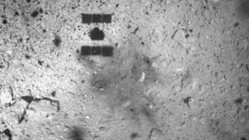 FILE - This Feb. 22, 2019, file image released by the Japan Aerospace Exploration Agency (JAXA) show