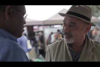 At the Rose Bowl Flea Market with designer Christian Louboutin