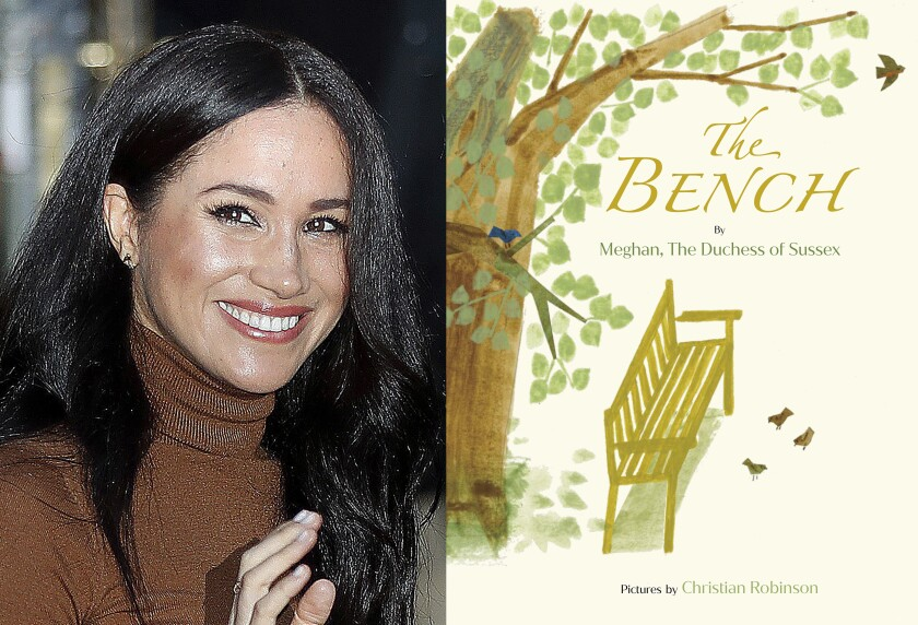 "This combination photo shows Meghan, Duchess of Sussex leaving Canada House in London, on Jan. 7, 2020, left, and cover art for her upcoming children's book ""The Bench,"" with pictures by Christian Robinson. The book will publish on June 8. (AP Photo, left, and Random House Children's Books via AP)"
