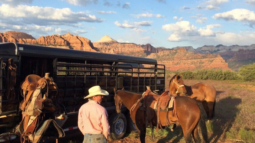 An image from 'The Last Cowboys' around Smith Mesa, the family property at the border of Zion near