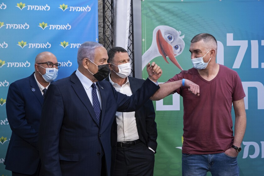 Israeli Prime Minister Benjamin Netanyahu at vaccination center
