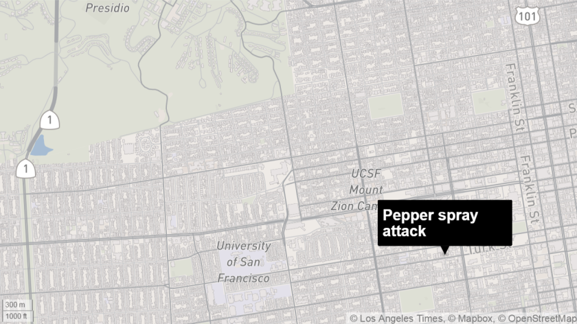 Map shows approximate location of a pepper spray attack in San Francisco's Fillmore district.