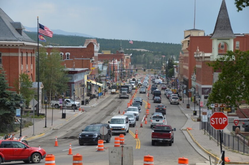 Traffic backs up during construction in Leadville, Colo., recently from the city's latest boom.
