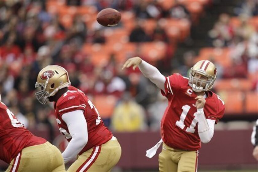 San Francisco 49ers quarterback Alex Smith (11) passes against the Arizona Cardinals in the first quarter of an NFL football game in San Francisco, Sunday, Jan. 2, 2011. (AP Photo/Ben Margot)