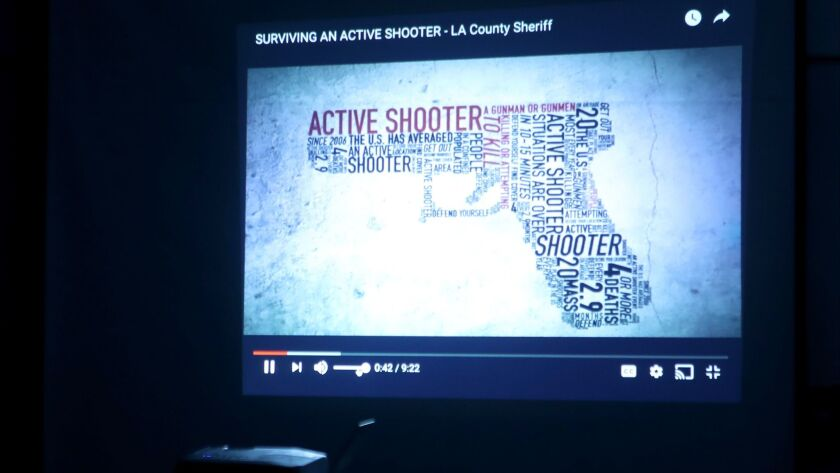 L.A. County Sheriff deputy Eric Matejka showed an active shooter training video to La Canada High Sc