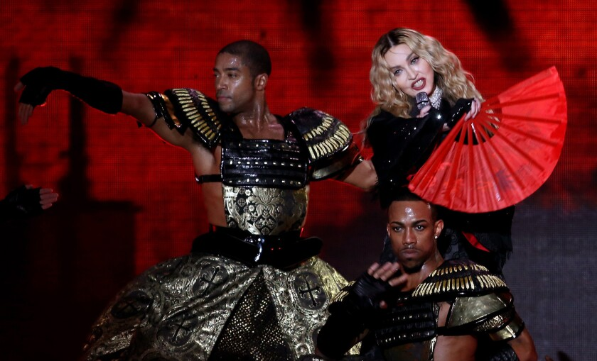 Madonna performs Tuesday night at the Forum in Inglewood.