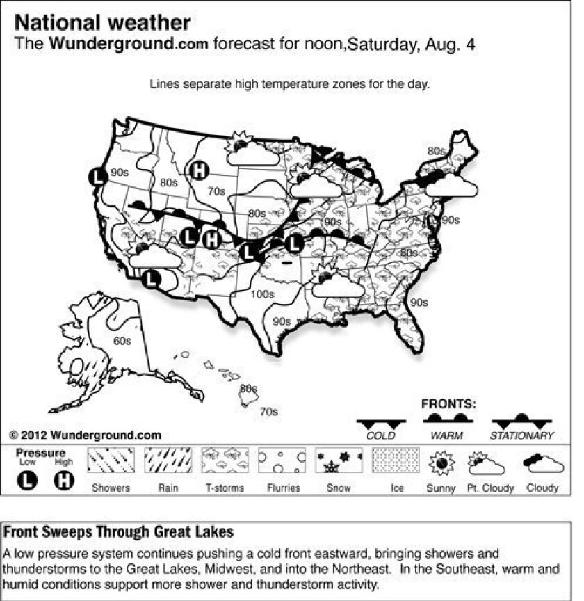 The forecast for noon, Saturday, Aug. 4, 2012 shows a low pressure system continues pushing a cold front eastward, bringing showers and thunderstorms to the Great Lakes, Midwest, and into the Northeast. In the Southeast, warm and humid conditions support more shower and thunderstorm activity. (AP Photo/Weather Underground)