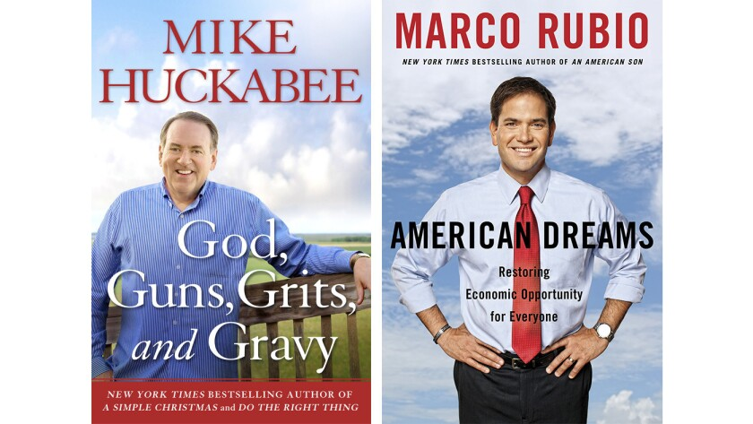 """Covers of the books """"God, Guns, Grits, and Gravy"""" by Mike Huckabee and """"American Dreams"""" by Marco Rubio."""
