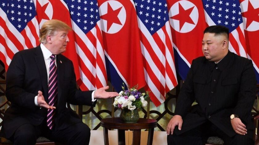 President Trump and North Korea's leader, Kim Jong Un, meet in Vietnam on Feb. 27.