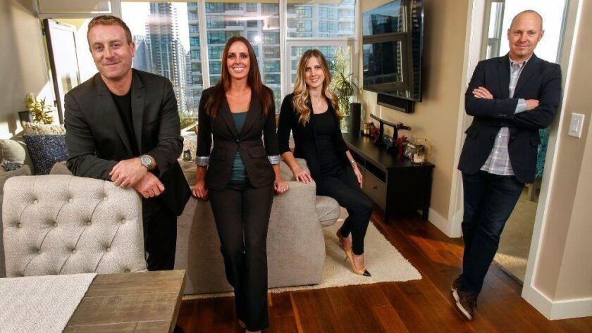 Bill Lyons, left, and Teevan McManus, right, cofounders of Greendoor, a buyer-focused real estate startup, with Greendoor realtors Melissa Laroux, center left, and Kristi Manion.
