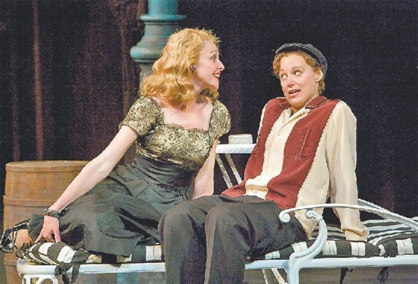"""Katie MacNichol (left) and Dana Green in the Old Globe's Summer Shakespeare  Festival production of The Bard's """"Twelfth Night."""" (Craig Schwartz)"""