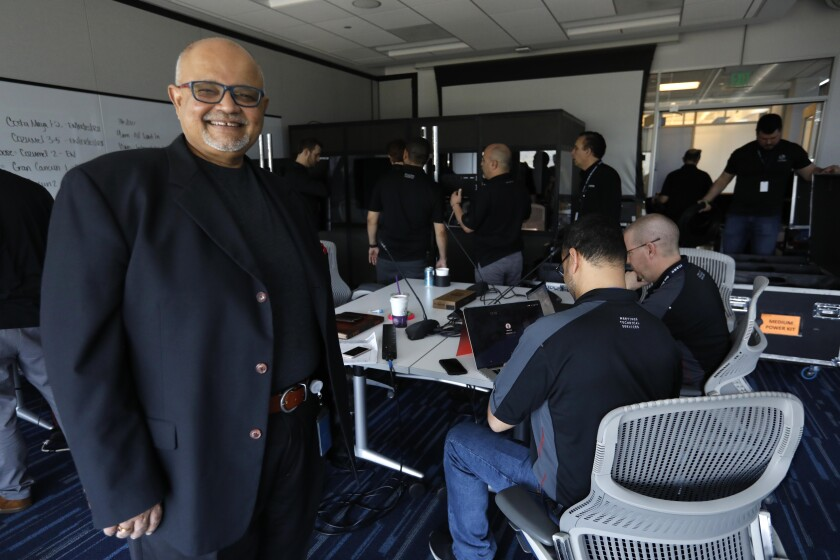 Ashwin Rangan, chief information officer, stands by as the ICANN offices in Playa Vista prepare for a 3,000-person call-in meeting after the cancellation of a conference in Mexico because of coronavirus fears.