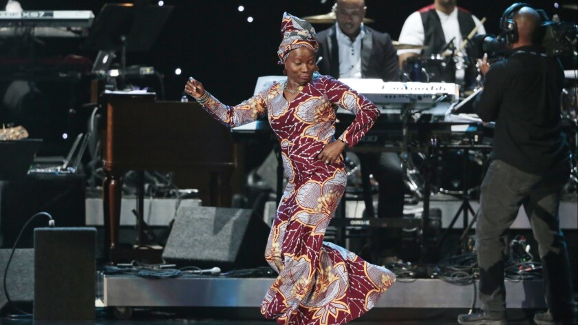 Angelique Kidjo, who will headline the Playboy Jazz Festival, performs in 2015 at the pre-telecast show for the 57th Grammy Awards in Los Angeles.