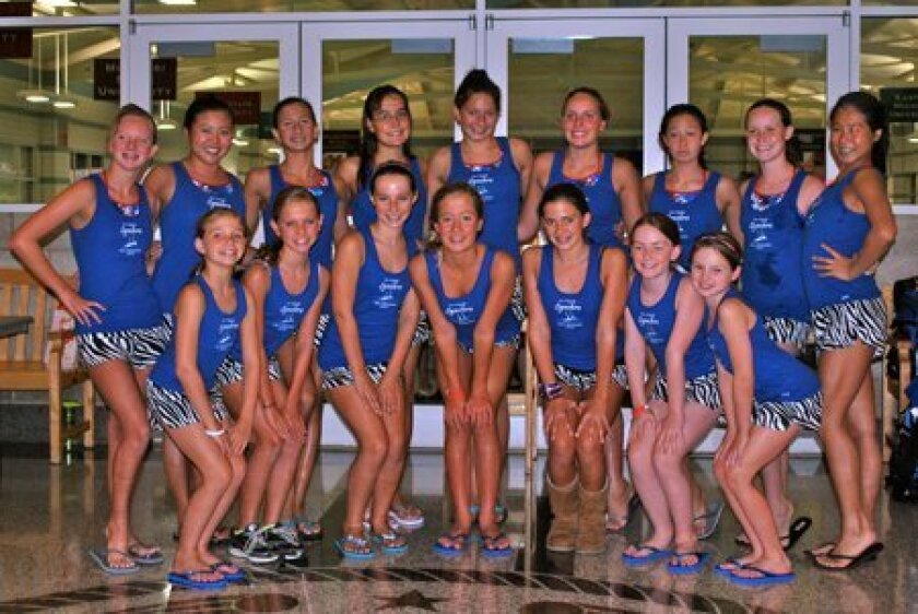 San Dieguito Synchro Team members:  (back row from left) Lily Kreps, Carly Allen, Danielle Emma, Ellie Holtaway, Rebekka Williams, Kenna Osborn, Emma Chang, Caoimhe Gallahue, Lisa Orii; and front row from left:  Olivia Dalry, Samantha Whitley, Madison Gustini, Ainsleigh Douglas, Alexandra Suarez, M