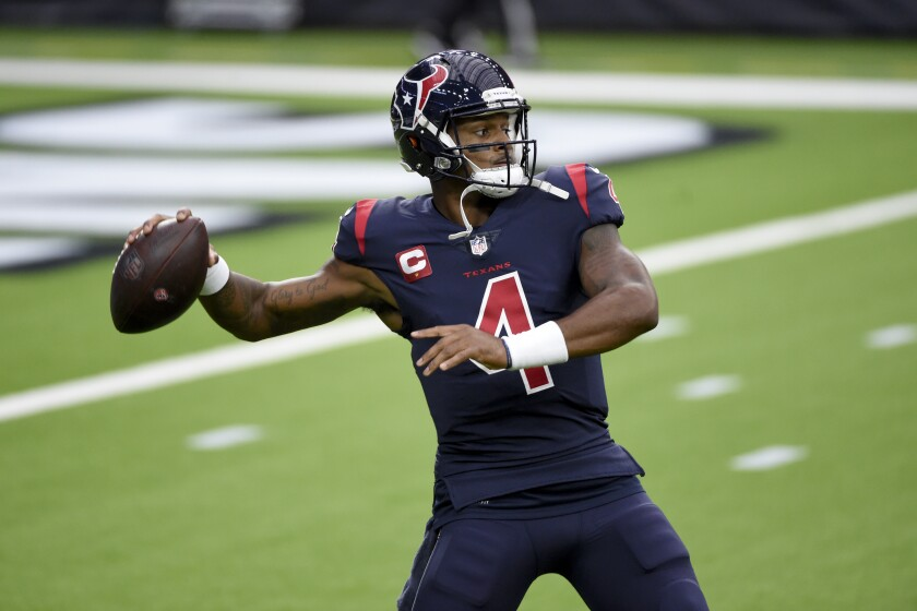 Houston Texans quarterback Deshaun Watson warms up before the start of an NFL football game against the Green Bay Packers Sunday, Oct. 25, 2020, in Houston. (AP Photo/Eric Christian Smith)