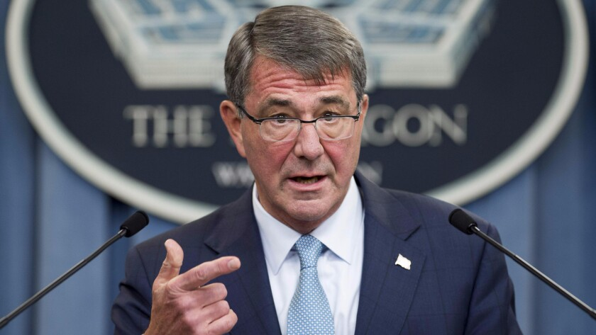 U.S. Secretary of Defense Ashton Carter announces that the military will lift its ban on transgender troops during a press briefing at the Pentagon on June 30, 2016.