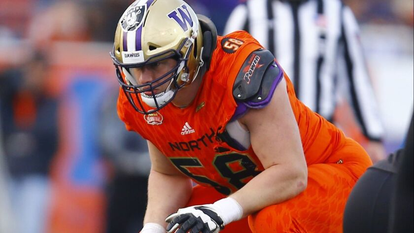 North offensive tackle Kaleb McGary of Washington (58) during the second half of the Senior Bowl col