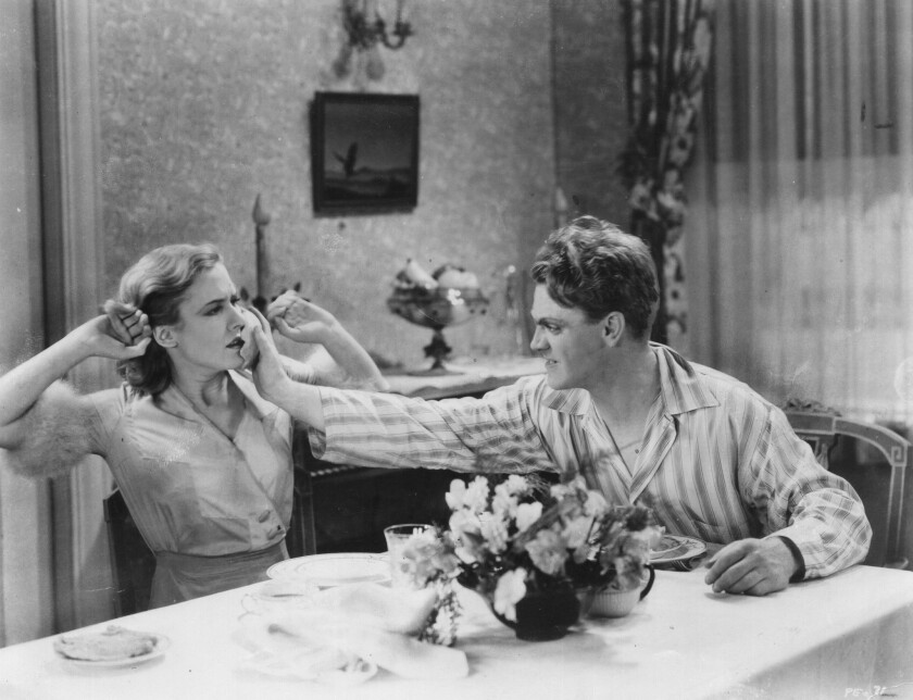 "In ""The Public Enemy,"" James Cagney grinds a grapefruit into Mae Clarke's face."