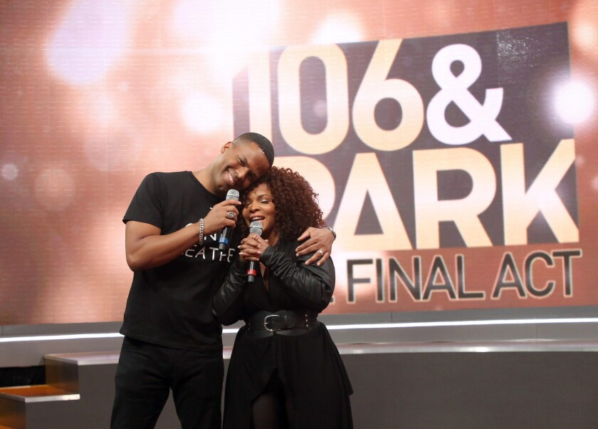 A.J. Calloway and Free Marie host 106 & Park Finale at CBS Studios on December 19, 2014 in New York City.