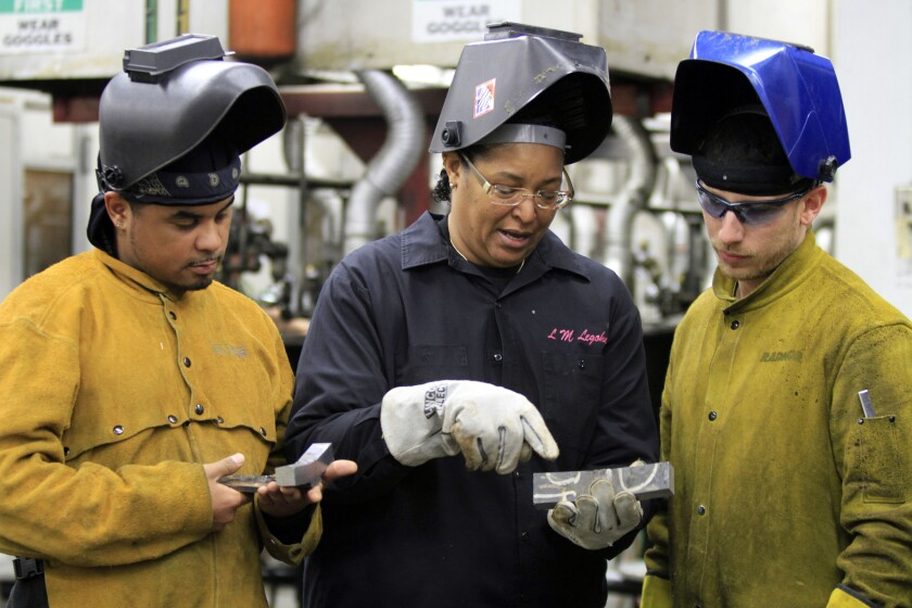 Students are seen in a welding class at Los Angeles Trade Technical College.