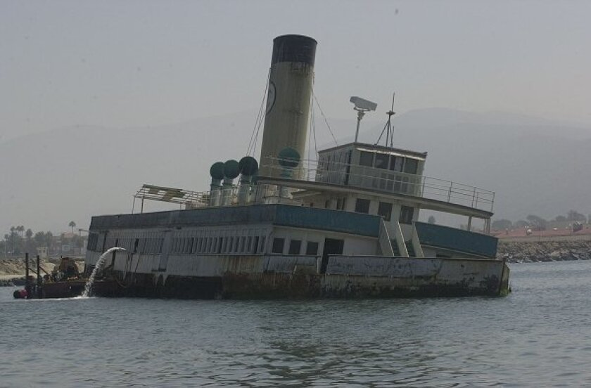 The Catalina at its final stop in Ensenada. The SS Catalina Preservation Association (www.sscatalina.org) had undertaken the task of refloating the ship and ultimately bringing it back to the United States where it would become a maritime museum. (2000 file photo)