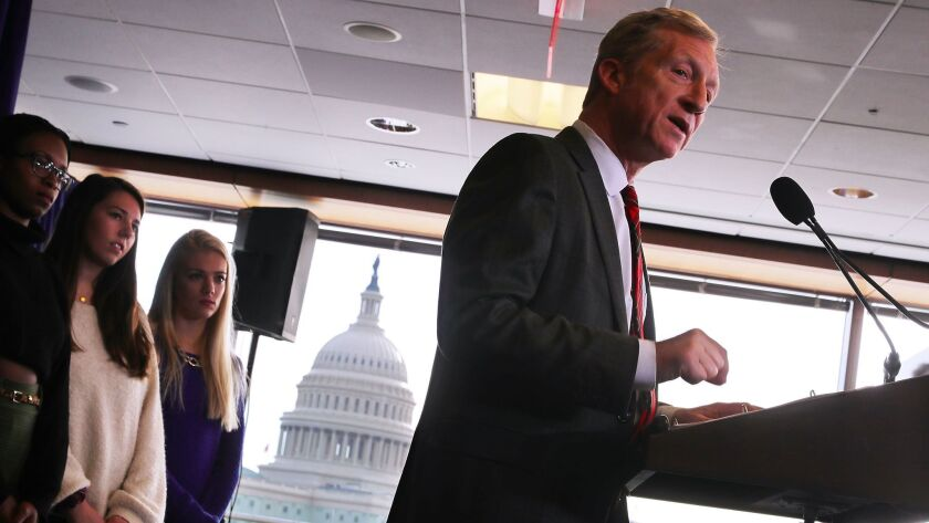 Hedge fund billionaire, Democratic mega-donor and environmentalist Tom Steyer holds a news conference regarding his political future and plans Jan. 8 in Washington.