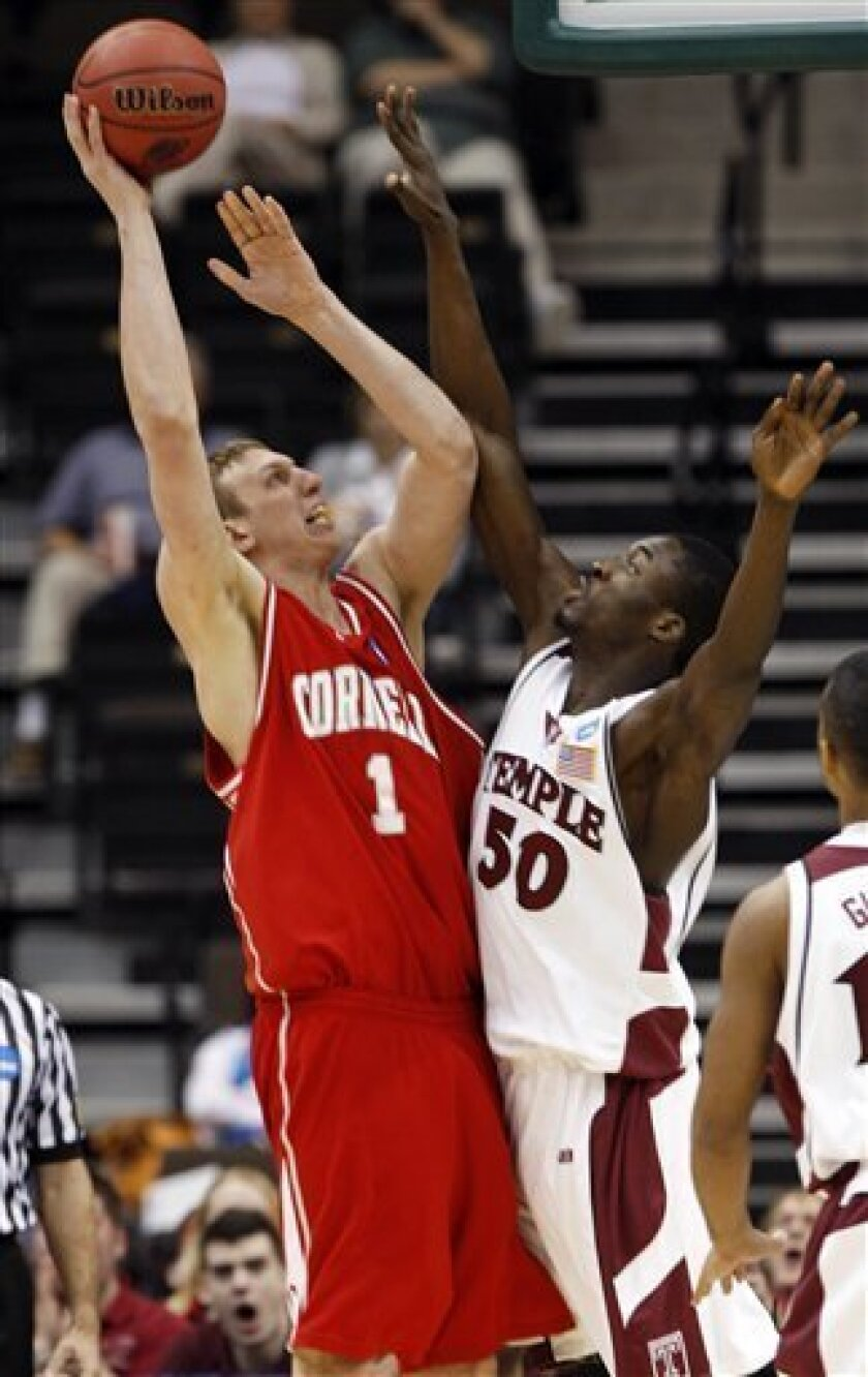 Cornell's Jeff Foote (1) attempts a shot as Temple's Micheal Eric defends during an NCAA first-round college basketball game in Jacksonville, Fla., Friday, March 19, 2010.  (AP Photo/Steve Helber)
